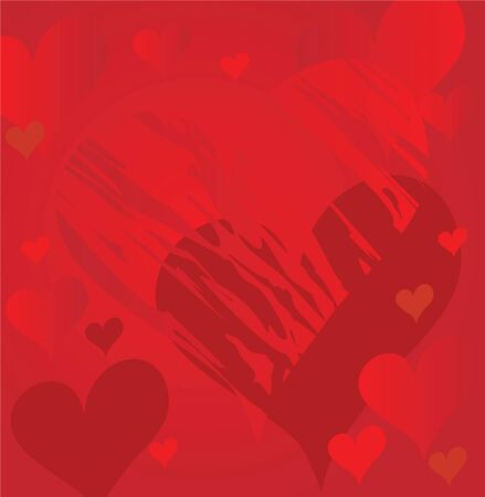 Abstract red hearts Vector