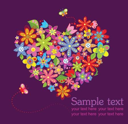 flores de cumpleaños: Tarjeta de felicitación con corazón floral Vectores