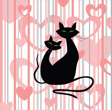 funny pictures: Abstract background with cats Illustration