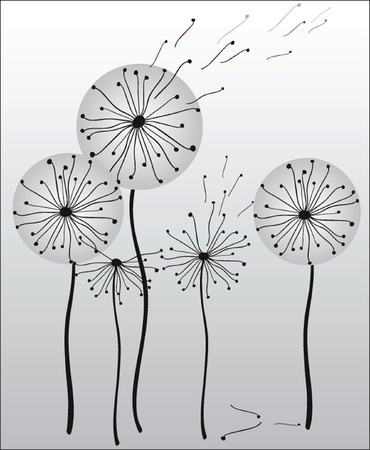 Background with dandelions  Vector