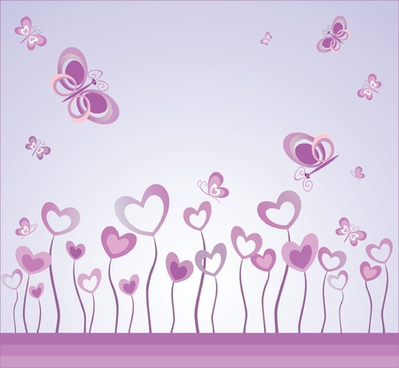 Valentins day card with hearts and butterflies Vector