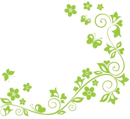 flore: Green floral border Illustration