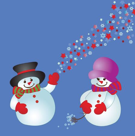 Xmas card with snowman  See my gallery for more Stock Vector - 19034677