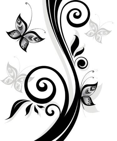 Black floral print Vector