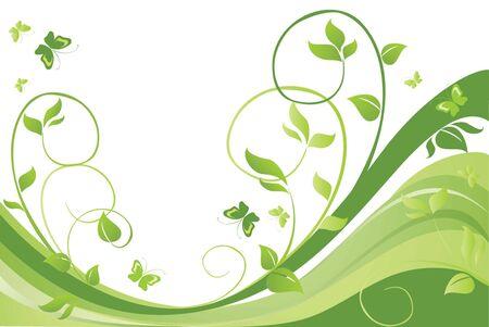 Green spring card Illustration