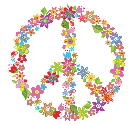 simbolo de paz: Paz símbolo de la flor Vectores