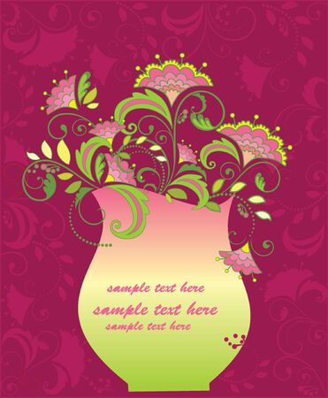 Floral frame with vase Vector