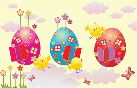 Funny Easter card Vector
