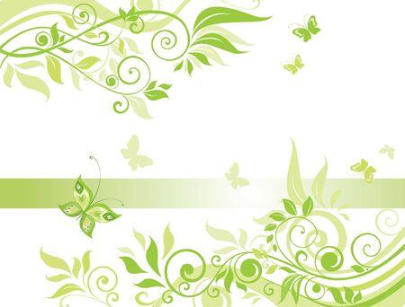 floral swirls: Green spring banner
