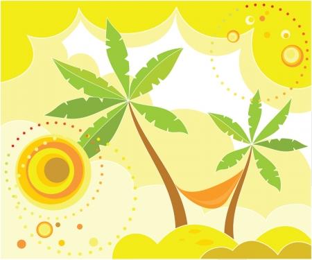 palmtrees: Summer holiday card Illustration