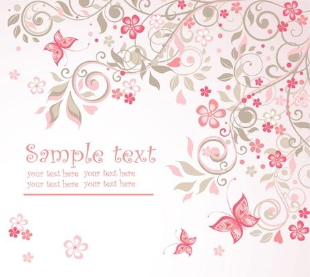 papillon rose: Belle carte florale