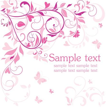 papillon rose: Belle carte rose Illustration