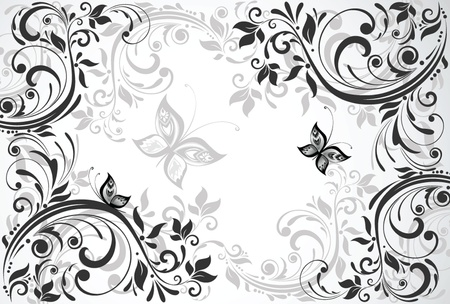 filigree background: Floral vintage card