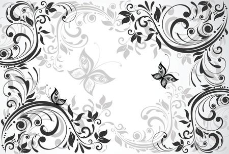 Tarjeta floral de la vendimia Ilustración de vector