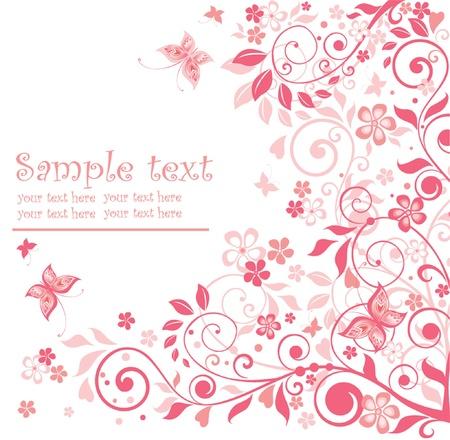 花ピンクのグリーティング カード