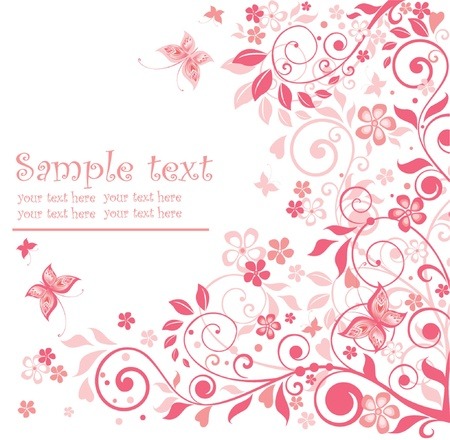 Greeting floral pink card Vector
