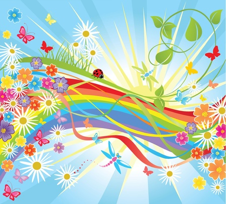 Summer background with rainbow Vector