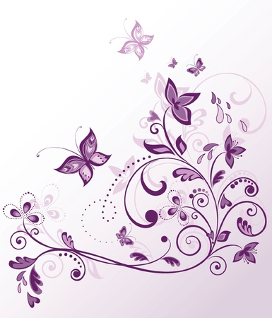 purple butterfly: Vintage floral violet card