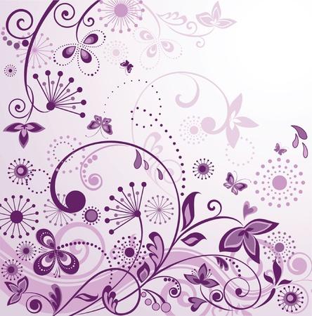 Vintage violet floral card Vector