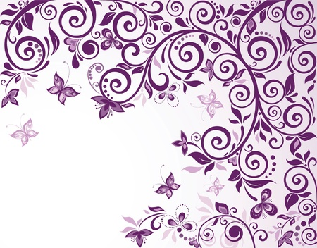 purple butterfly: Violet vintage floral card Illustration