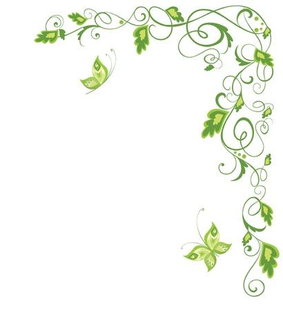 esquineros de flores: Frontera verde de la vendimia