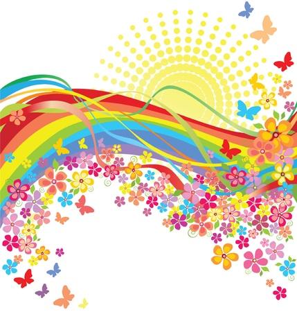 cartoon rainbow: Arco iris y flores