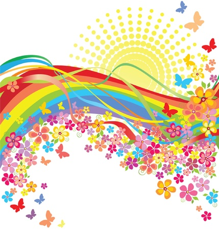 Rainbow and flowers Stock Vector - 19034951