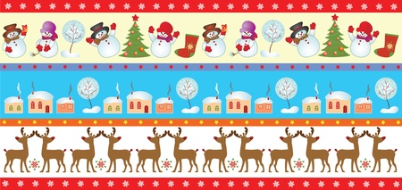 Set of christmas seamless border Vector