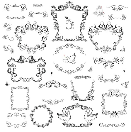 butterfly  angel: Set of decorative frame and design elements