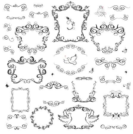 engel tattoo: Set von dekorativen Rahmen und Design-Elemente