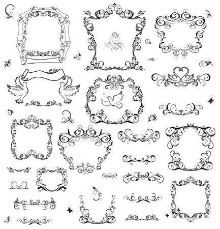 angel valentine: Set of vintage frame and design elements
