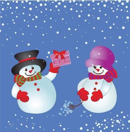 Christmas card with snowman. Stock Vector - 19034993