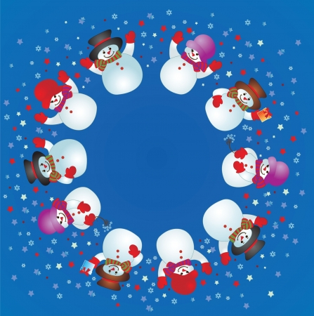 Christmas card with snowman. Stock Vector - 19034930