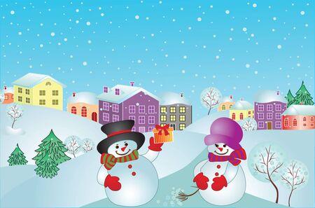 Xmas card with snowman.  Stock Vector - 19034968
