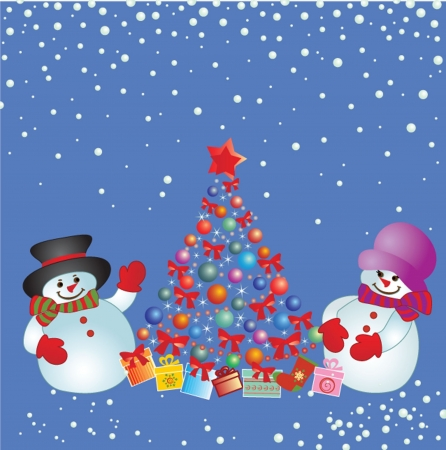 Xmas card with snowman Stock Vector - 19034985