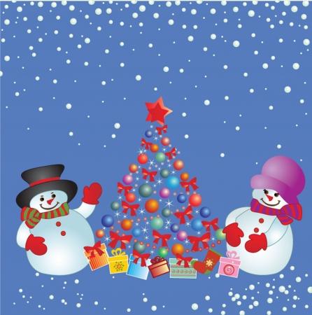 snowfall: Xmas card with snowman