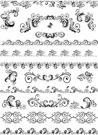 Decorative border and design elements Illustration