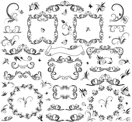 Set of decorative frame and design element Vector
