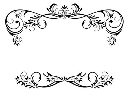 marco blanco y negro: Marco floral Vintage Vectores