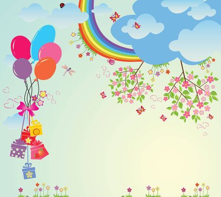 colored balloons: Birthday card Illustration