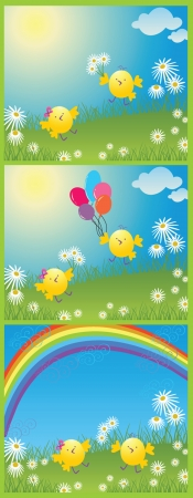 Easter cute banner Vector