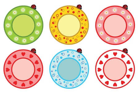 dinner party table: Plate with ladybug Illustration