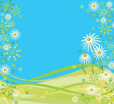 golden daisy: Primavera marco Vectores