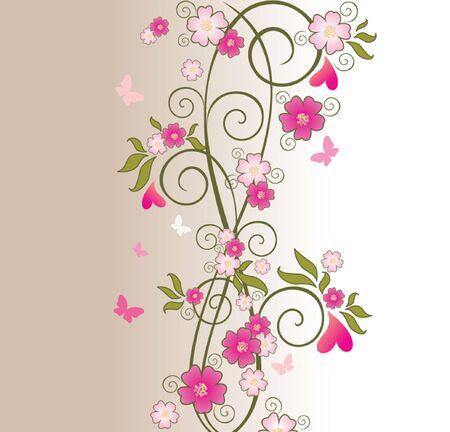 border flowers: Beautiful floral border Illustration