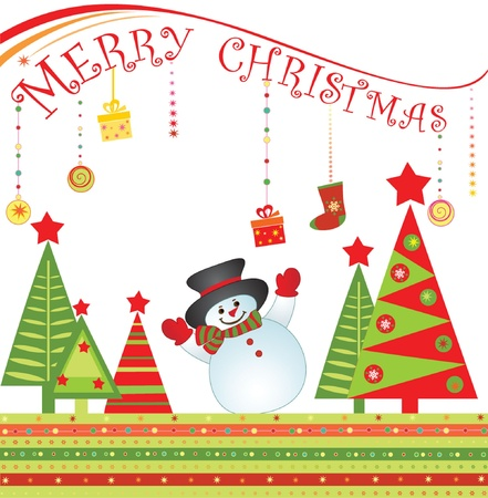 Christmas card with snowman Stock Vector - 19034966