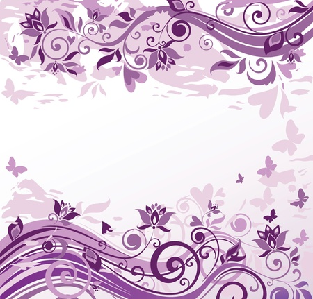 wed beauty: Violet vintage floral card Illustration