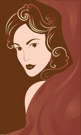 Portrait of beautiful woman  Vector illustration Stock Vector - 19034904