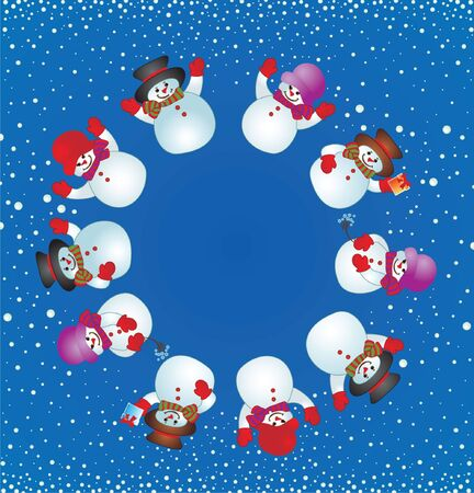 Christmas card with snowman   Stock Vector - 19034941