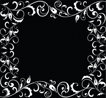 Black and white floral frame. Stock Vector - 19034895