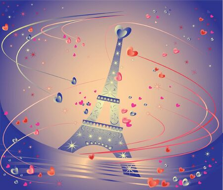 Celebration card with Eiffel Tower. See my gallery for more Stock Vector - 19034989